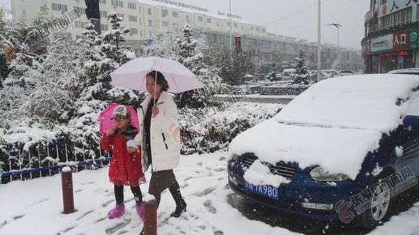 张家口市迎来今秋初雪 张北县雪景。 大为 玉勤 摄