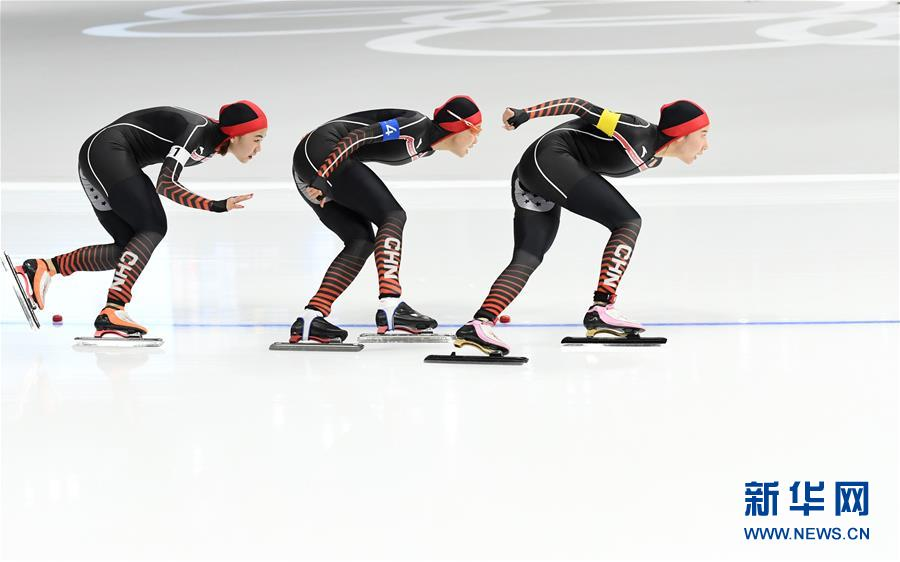 (冬奥会)(7)速度滑冰——女子团体追逐四分之一决赛:中国队名列第五