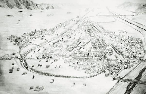 """京张铁路文化之路(下) ▲ 王嵬考察了许多史志、资料,并通过自己的画笔复原了许多没有影像资料的京张铁路旧景。 图为北向南视角下张家口""""大弯道""""及张家口车站。 王嵬 绘"""