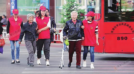 桥西创建全国文明城市,我们在行动 文明交通志愿者搀扶老人过马路。