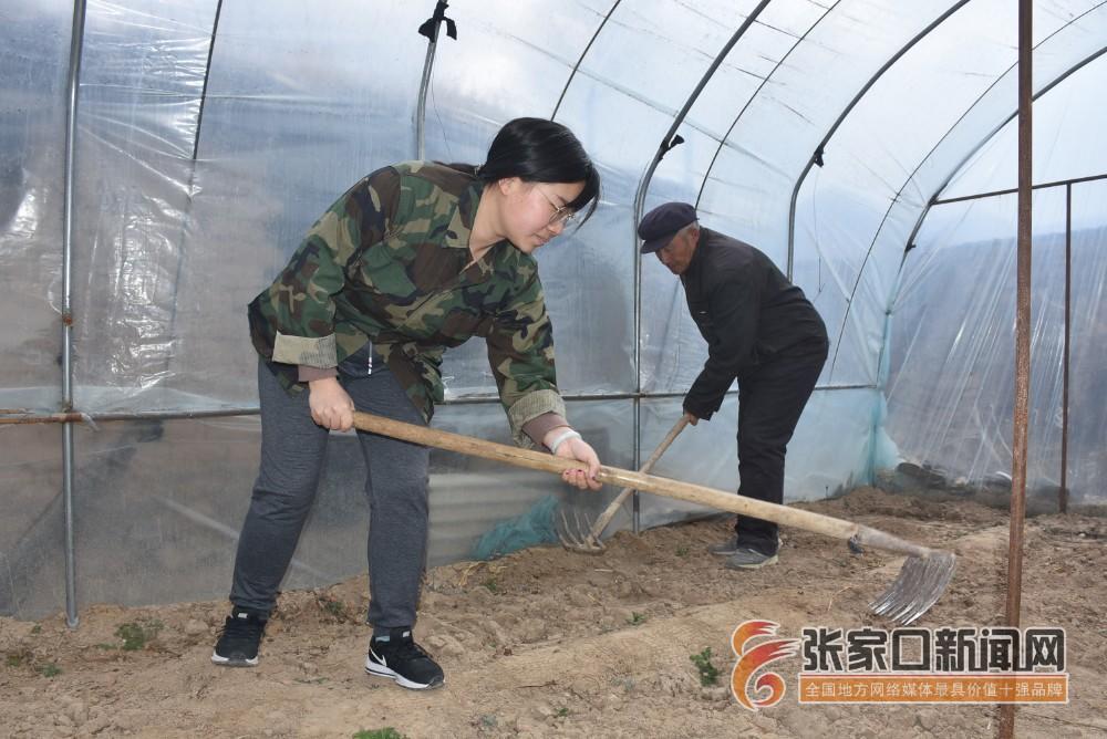 【新时代 新青年】赵娟:奋斗青春放飞梦想 赵娟和村民一起干活。
