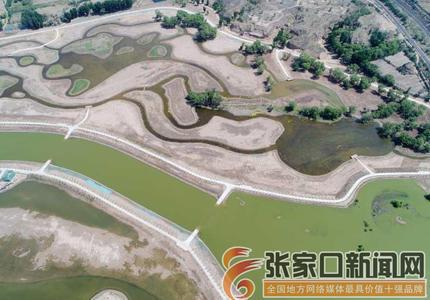 张家口怀来:建设中的官厅水库八号桥水质净化湿地工程